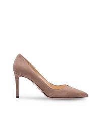 Zapatos de tacón de ante rosados de Prada
