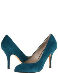 Zapatos de Tacón de Ante Verde Azulado