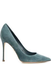 Zapatos de Tacón de Ante Verde Azulado de Sergio Rossi