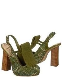 Zapatos de tacón de ante verde oliva