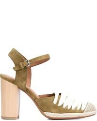 Zapatos de tacón de ante verde oliva de Derek Lam 10 Crosby