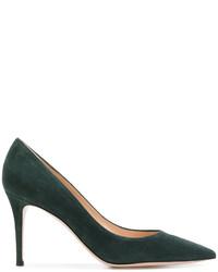 Zapatos de tacón de ante verde oscuro de Gianvito Rossi