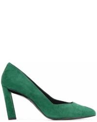 Zapatos de tacón de ante verde oscuro de Robert Clergerie