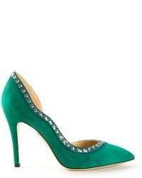 Zapatos de tacón de ante verdes de Charlotte Olympia