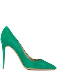 Zapatos de tacón de ante verdes de Salvatore Ferragamo