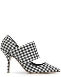 Zapatos de tacón de cuero a cuadros en blanco y negro