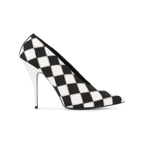 Zapatos de tacón de cuero a cuadros en negro y blanco de Stella McCartney