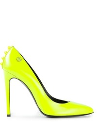 Zapatos de Tacón de Cuero Amarillo Verdoso de Philipp Plein