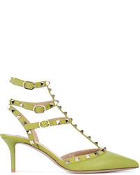 Zapatos de Tacón de Cuero Amarillo Verdoso de Valentino Garavani