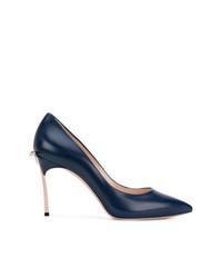 Zapatos de Tacón de Cuero Azul Marino de Casadei