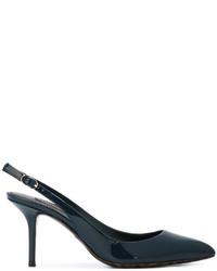 Zapatos de Tacón de Cuero Azul Marino de Dolce & Gabbana