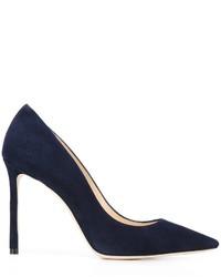 Zapatos de tacón de cuero azul marino de Jimmy Choo