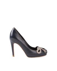 Zapatos de Tacón de Cuero Azul Marino de Sarah Chofakian