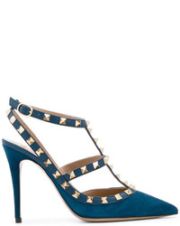 Zapatos de Tacón de Cuero Azul Marino de Valentino