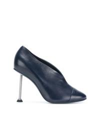 Zapatos de Tacón de Cuero Azul Marino de Victoria Beckham