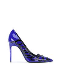 Zapatos de Tacón de Cuero Azules de Saint Laurent