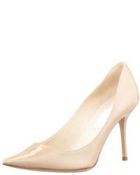 Zapatos de Tacón de Cuero Beige