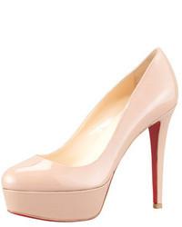 Zapatos de Tacón de Cuero Beige de Christian Louboutin