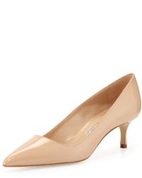 Zapatos de Tacón de Cuero Beige de Manolo Blahnik