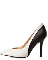 Zapatos de Tacón de Cuero Blancos y Negros