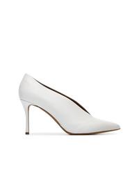 Zapatos de tacón de cuero blancos de Tabitha Simmons