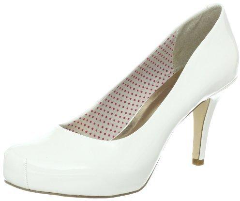 Zapatos de tacón de cuero blancos
