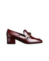Zapatos de Tacón de Cuero Burdeos de Burberry