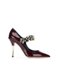 Zapatos de tacón de cuero burdeos de Dolce & Gabbana