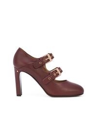 Zapatos de tacón de cuero burdeos de Laurence Dacade