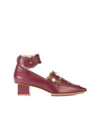 Zapatos de tacón de cuero burdeos de Rue St