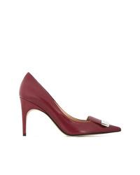 Zapatos de tacón de cuero burdeos de Sergio Rossi