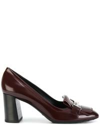 Zapatos de Tacón de Cuero Burdeos de Tod's