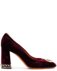 Zapatos de Tacón de Cuero con Adornos Burdeos de Santoni