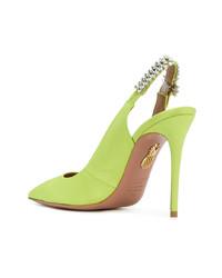 Zapatos de tacón de cuero con adornos en amarillo verdoso de Aquazzura