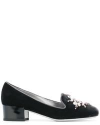 Zapatos de Tacón de Cuero con Adornos en Gris Oscuro de Rene Caovilla
