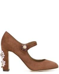 Zapatos de Tacón de Cuero con Adornos en Tabaco de Dolce & Gabbana