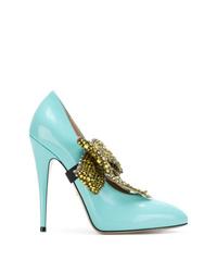 Zapatos de tacón de cuero con adornos en turquesa de Gucci