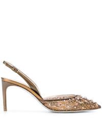 Zapatos de Tacón de Cuero con Adornos Marrón Claro de Rene Caovilla