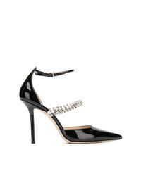 Zapatos de tacón de cuero con adornos negros de Jimmy Choo