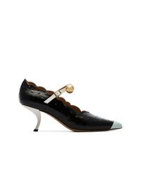 Zapatos de tacón de cuero con adornos negros de Marni