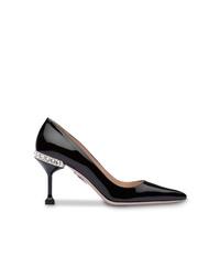 Zapatos de tacón de cuero con adornos negros de Miu Miu