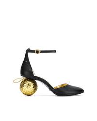Zapatos de tacón de cuero con adornos negros de MM6 MAISON MARGIELA