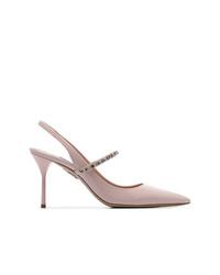 Zapatos de tacón de cuero con adornos rosados de Miu Miu