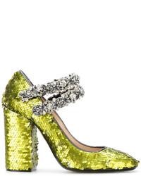 Zapatos de tacón de cuero con adornos verde oliva de No.21
