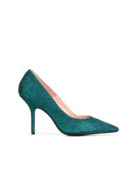 Zapatos de tacón de cuero con adornos verdes de Anna F.