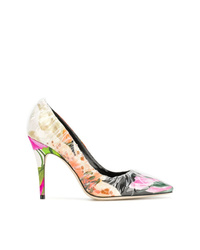 Zapatos de tacón de cuero con print de flores en multicolor