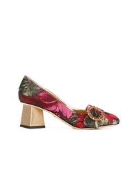 Zapatos de tacón de cuero con print de flores en multicolor de Dolce & Gabbana