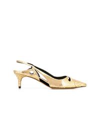 Zapatos de tacón de cuero con print de serpiente dorados de Alexandre Birman