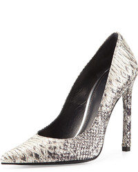 Zapatos de tacón de cuero con print de serpiente grises