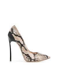 Zapatos de tacón de cuero con print de serpiente grises de Casadei